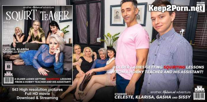 Celeste (53), Gasha (46), Klarisa (46), Mugur (43), Nikki Nuttz (25) & Sissy (43) - Four older ladies get teached how to squirt and then some! (FullHD / MP4) Mature.nl, Mature.eu